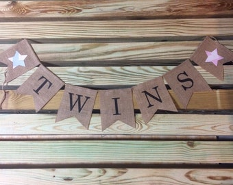 Twins Burlap Banner, Twin Boy and Girl Banner, Twins Sign, Twins Banner, Baby Shower, Twins Baby Shower, Chevron Banner