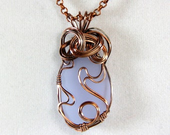Copper Wire Wrapped Periwinkle Cultured Sea Glass Pendant Necklace~Artisan Crafted~One Of A Kind