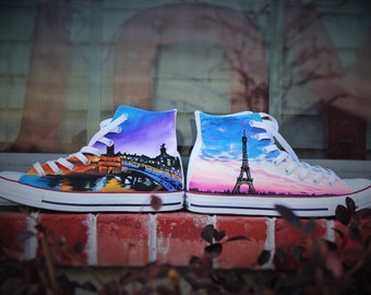 Beautiful Paris France, High Top Converse Shoes - Womens