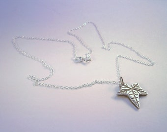 Silver Necklace - Ivy Leaf Necklace - Sterling Silver and Fine Silver Necklace - Gift for Gardener - 18 Inch Chain Necklace