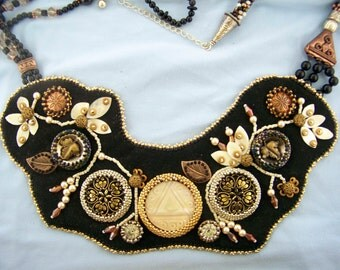 Antique Buttons (from all over the world) Bead Embroidery Necklace
