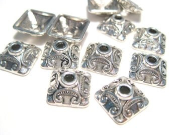 20pcs Antique Silver Square Bead Caps 10x4mm