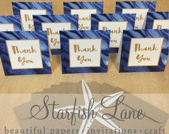 Navy Marble Thank You Card Pack/ 10 cards 99mmx99mm when folded & 10 Envelopes