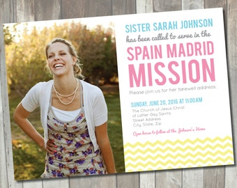 Missionary Announcement Card | Printable LDS Sister Missionary Announcements | Farewell Invitation | Mormon Missionary Card
