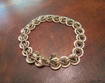 14k 3D Vintage Fancy Link Charm Bracelet