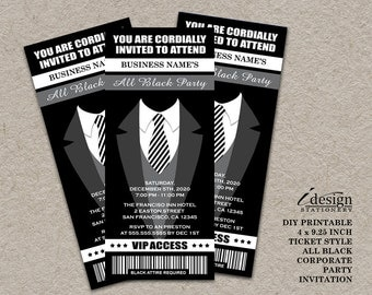 All Black Party Ticket Invitation | Printable Ticket Style Black Tie  Invitation For Holiday Party Or  Prom Tickets Design