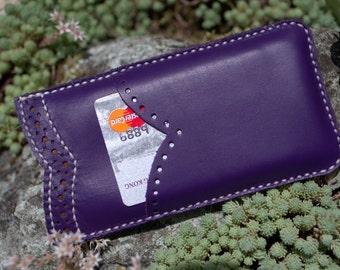 iPhone SE Case Leather, iPhone SE Sleeve Card Holder, Handmade iPhone SE Case, Leather iPhone 5S Case, iPhone 5 Sleeve Flower Pattern Purple
