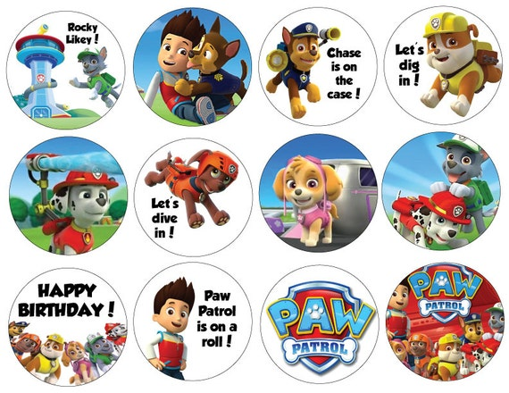 Paw Patrol Birthday Party Cupcake Toppers- You Print At Home