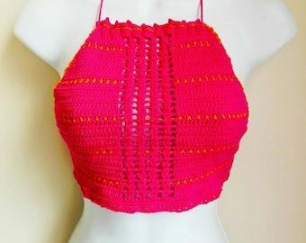 Pink crochet crop top, boho top, crochet bikini top,festival top,halter top.