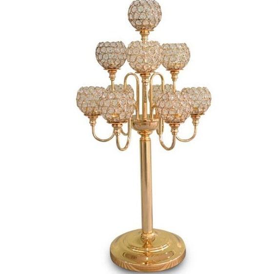 Crystal gold arms candelabra floral riser wedding