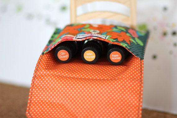 Essential Oil Bag for 3 bottles (15ml) Geometric Flowers, doTERRA, Young Living, Eden's Garden
