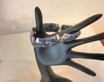 Carved/Faceted Sodalite and Sterling Silver Link Bracelet