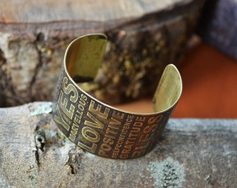 Optimistic brass bracelet. Positive. Good Karma. Hand made.