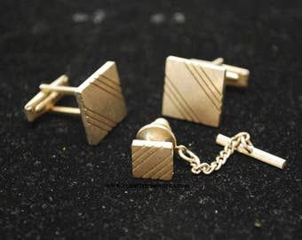 Vintage Gold Tone Square Cuff Links and Tie Pin 3 Piece Set