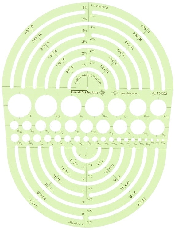 Circle Radius Master Template For Drafting And Creating Designs Professional Drawing Template