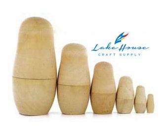 Plain Wood Nesting Dolls SIX, Bare Wooden Nesting Dolls, Russian Nesting Doll SET