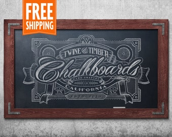 Premium Rustic Framed Chalkboard - Red Mahogany