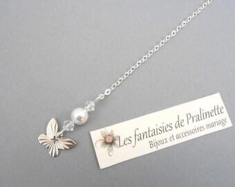 Bijoux mariage de dos en chaine et cristal pendentif mariage de dos papillon et perles en cristal - Bridal backdrop necklace crystal