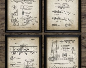Vintage Aviation Print Set Of 4 - Biplane Aircraft Design - Aircraft Airfoil Design - Set Of Four Prints #1961 - INSTANT DOWNLOAD