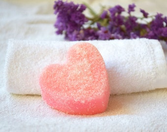 Sugar Scrub soap Heart Rose oil solid scrub Exfoliating vegan organic face peeling bridal shower gift wedding party favors girlfriend gift