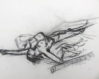 Charcoal life drawing- A3