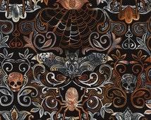 Halloween Motifs Fabric Fat Quarter, Half Yard, or By-The-Yard; C4577; Novelty Fabric; Timeless Treasures