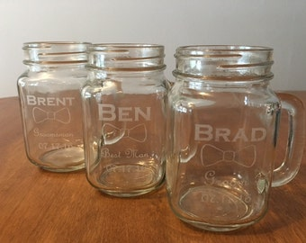 Groomsmen Gifts, Custom Groomsmen Mason Jars, Personalized Engraved Mason Jar Wedding Glasses