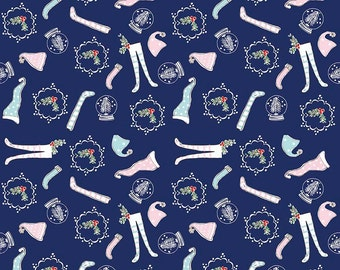 Pixie Noel - Riley Blake - Tasha Noel Fabric - #C5253-NAVY - Christmas Fabric - Holiday Fabric - Christmas in July - IN STOCK