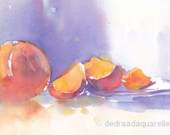 Oranges still life. Original watercolour.