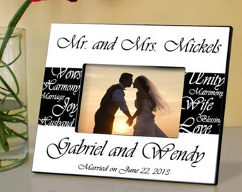 Personalized picture frames mr and mrs monogrammed engraved custom photo couples wedding pictures anniversary ideas RR10629