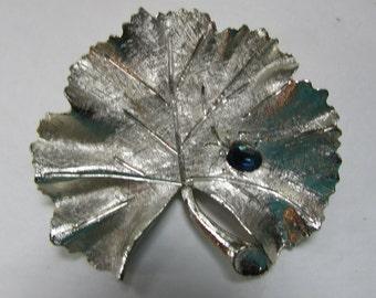 SALE! BSK Brooch Ginkgo Leaf Pin Silver Tone Brooch Royal Blue Rhinestone Brushed Silver Tone Vintage Jewelry Signed Brooch