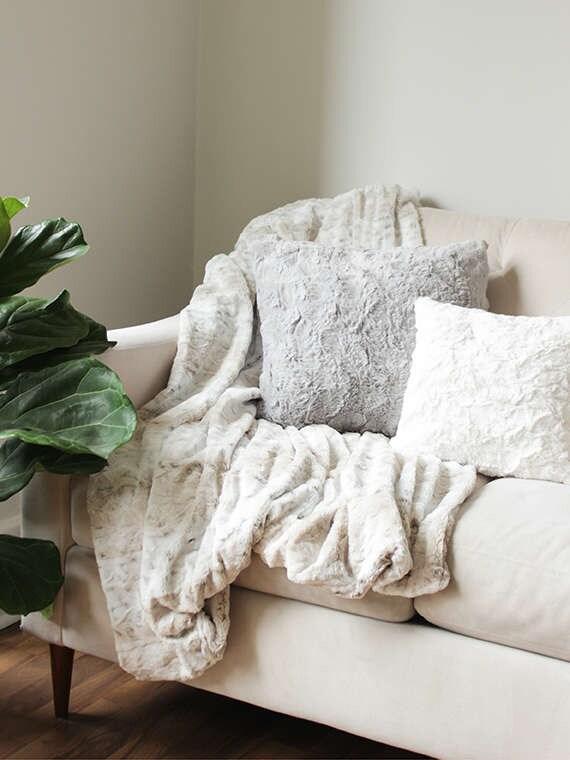 Faux Fur Cushion Cover Grey Throw Pillow Cover Decorative