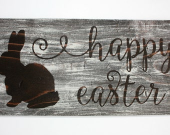 Happy Easter Sign, Easter Sign, Rustic Sign, Easter Decor