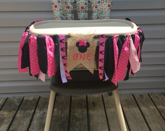 Minnie Mouse 1st Birthday High Chair Banner