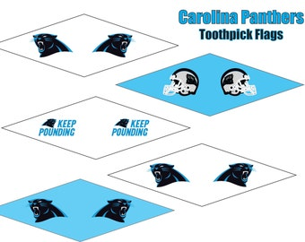 Carolina Panthers printable toothpick flags. Party decorations for Panthers fans. Immediate download for NFL playoff home decor.