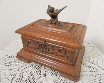 Antique Carved Wooden Box 1800 S Vintage Black Forest Bird Wood Carving French Decor