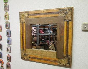 Reclaimed Rustic Mirror #6-Mexican-28x28 in-Western-Repurposed-Primitive-Western-Vintage Look-Vanity Mirror