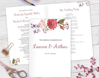 Printable, Wedding program, templates, ceremony program, booklet, instant download, Editable text,WF1