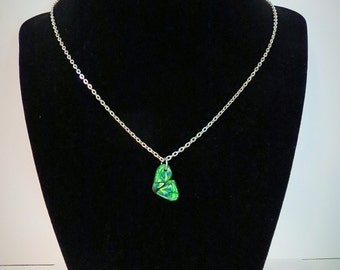 Green butterfly wing necklace