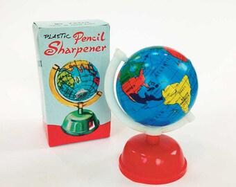 Vintage Globe Pencil Sharpener, Retro School Supply, Dime Store Toy, World Map, Geography History, 1960s Tin & Plastic Pencil Sharpener