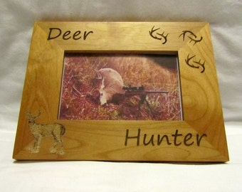 Personalized Wooden Picture Frame- Deer Hunter