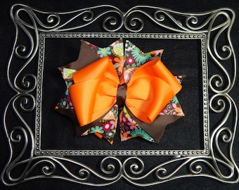 5 Inch Fall Stacked Hair Bow, Boutique Hair Bow, Fall Hair Bow, Orange and Brown Hair Bow, Fall Boutique Hair Bow, Fall Colored Hair Bow