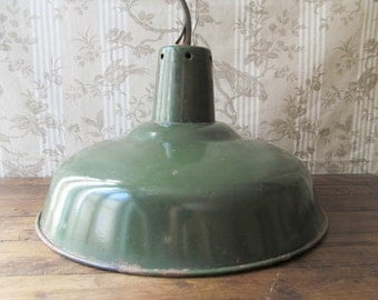 French Industrial Enamel Pendant Light - Industrial Lighting - Green Enamel Lamp with White Interior - Workshop Light - Metal Pendant Light
