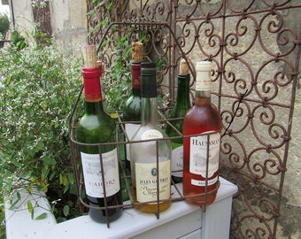 French Vintage Wire Bottle Carrier for Six Bottles