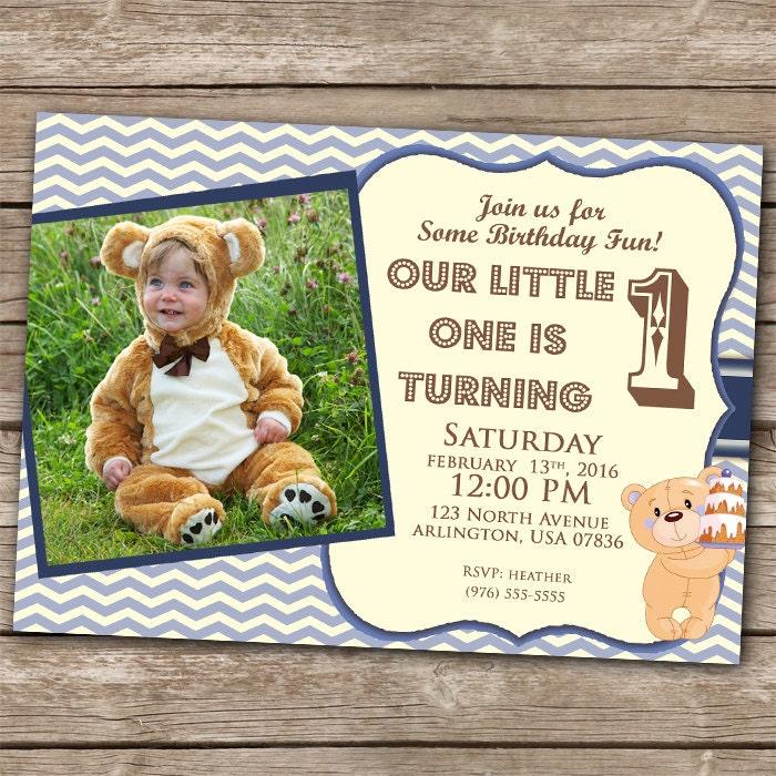 Boy Invitation 1st Birthday Teddy Bear Invitation 5x7 1 Year – First Birthday Party Invitations Boy