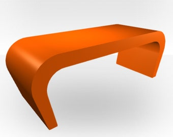 Orange Gloss Coffee Table - Wedge