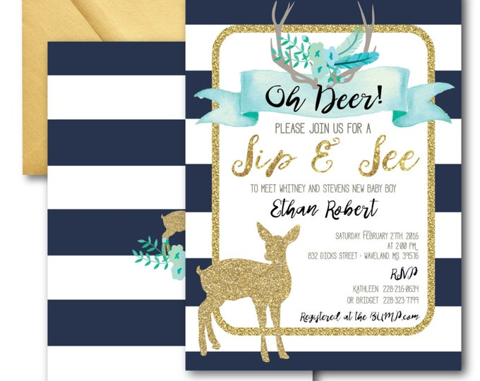 Oh Deer Sip and See Invitation // It's a Boy // Fawn Invitation // Boy // Blue // Navy // Woodland // Gold Glitter // OXFORD COLLECTION