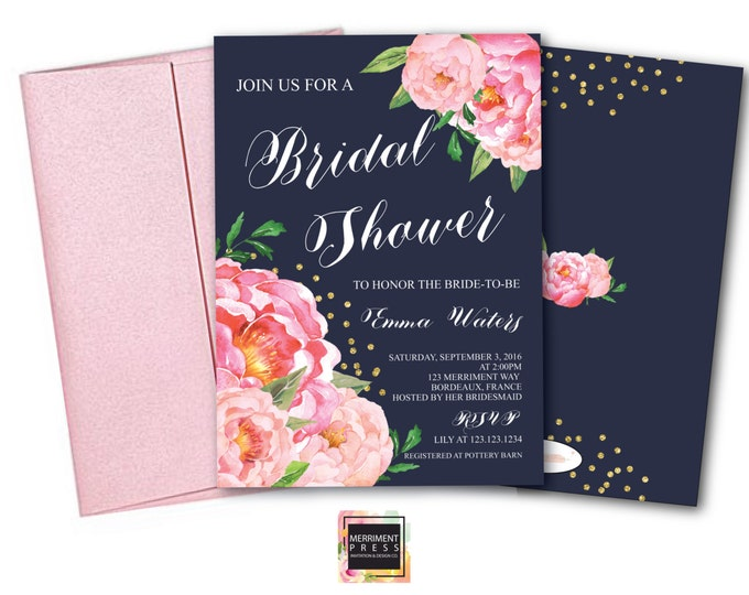 Bridal Shower Invitation // Navy // Navy Blue // Peonies // Peony // Bridal Invite // Pink // Blush // Gold Glitter // BORDEAUX COLLECTION