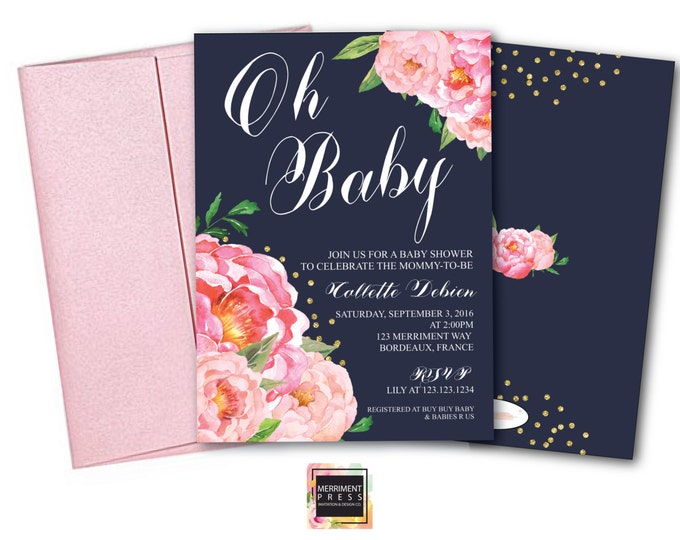 Oh Baby Shower Invitation // Peony Invitation // Floral // Peonies // Peony // Navy Blue // Pink // Gold Glitter // BORDEAUX COLLECTION