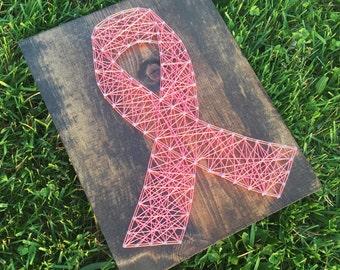 Breast Cancer Awareness String Art - Handmade - Custom Art